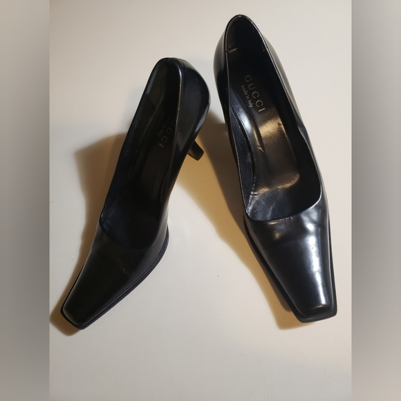Gucci Shoes - Gucci Black Leather Square Toe heels Size 9